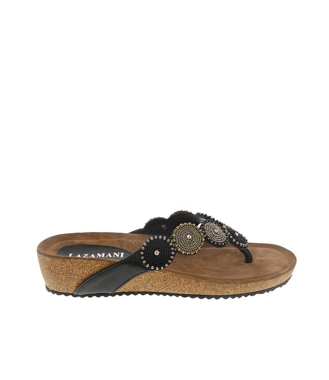 Lazamani Lazamani dames sandaal zwart met kraaltjes