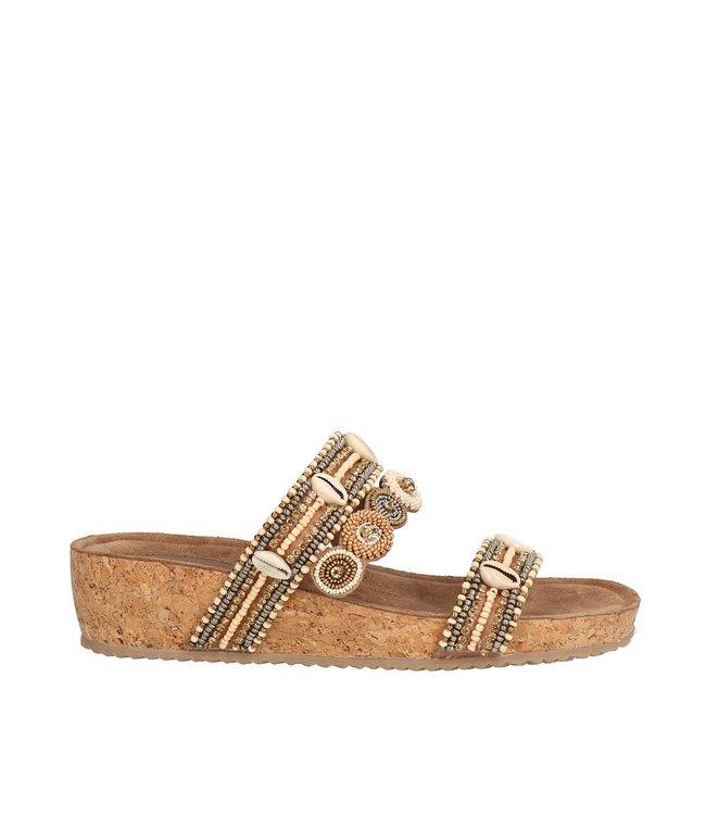 Lazamani Lazamani dames sandaal taupe met kraaltjes
