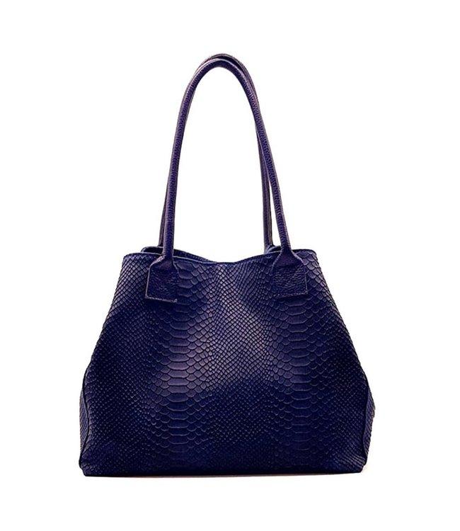 Zeen Zeen Bag damestas jeansblauw leer