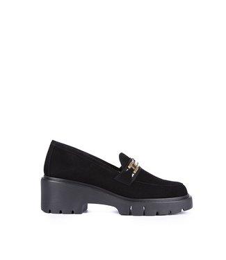 Unisa Unisa black suede wedge loafers