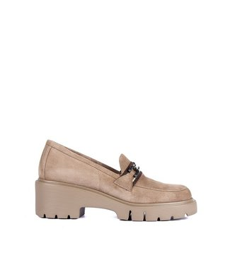 Unisa Unisa taupe suede wedge loafers