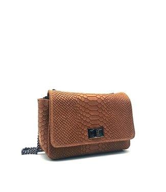 Zeen Zeen croco shoulder bag cognac leather
