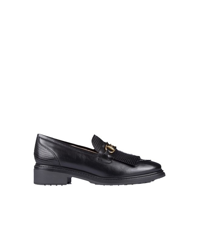 Unisa Unisa black leather loafers with rubber sole