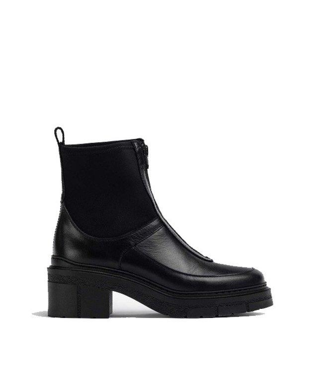 Unisa Unisa black leather boots with elastic neoprene