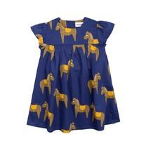 Mini Rodini Horse woven frill dress navy