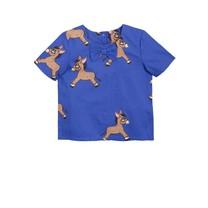 Mini Rodini Donkey woven ss blouse blue