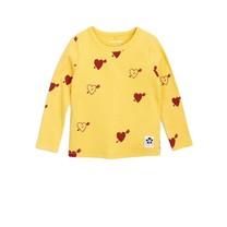 Mini Rodini Heart rib ls tee yellow