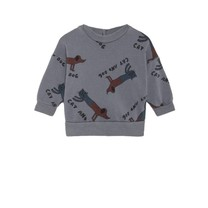 Bobo Choses Baby Sweater Cats and Dogs donkergrijs