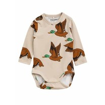 Mini Rodini Baby romper Ducks beige