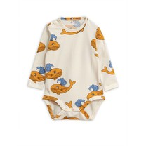 Mini Rodini Baby Romper Whale Orange