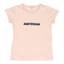 Broer & Zus Meisjes t-shirt pink Amsterdam