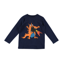 Stella McCartney kids Shirt lange mouw oranje draak donkerblauw