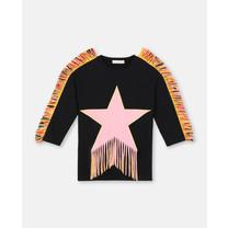 Stella McCartney kids Jurk franjes ster zwart/roze
