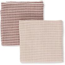 Konges Slojd Muslin Cloth Baby 2-pack striped Roodtinten