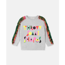 Stella McCartney kids Sweater met print en franjes grijs