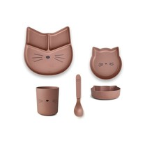 Liewood Kinderservies junior Jules bamboo cat dark rose