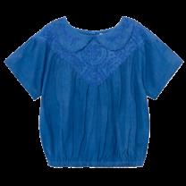 Bobo Choses Blouse Embroidery korte mouw Azuur Blauw