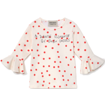 Bobo Choses Zwemtop Dots Ruffle Turtledove
