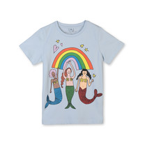 Stella McCartney kids T-shirt regenboog en zeemeermin blauw