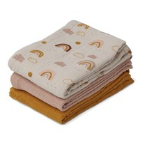 Liewood Line muslin doeken - 3 pack Rainbow love mix