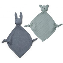 Liewood Yoko mini cuddle cloth 2-pack blue mix