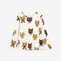 Mini Rodini Cat choir aop ls tee offwhite