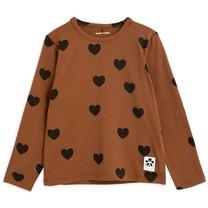 Mini Rodini Hearts aop ls tee TENCEL brown
