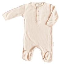 Broer & Zus Baby boxpak rib roze voetjes en knoopjes