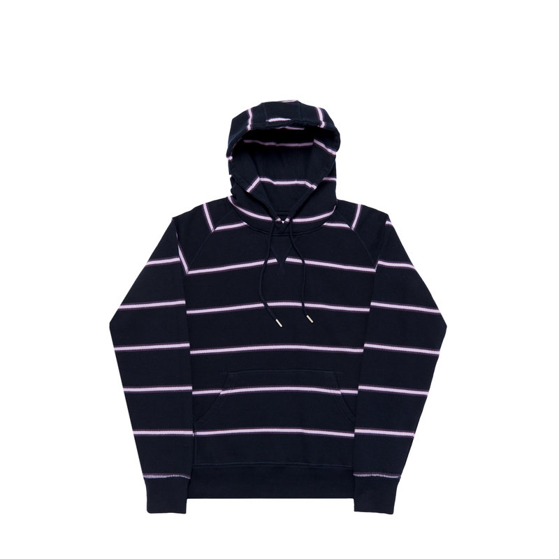 POP TRADING COMPANY STRIPED HOODED SWEAT