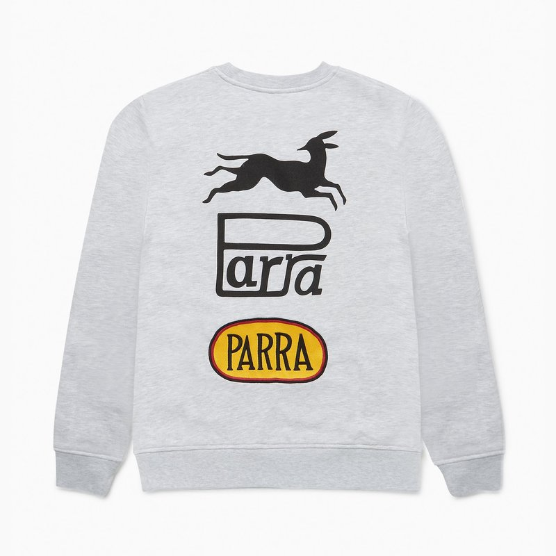 BY PARRA BY PARRA RACING FOX CREW NECK ASH SWEATER