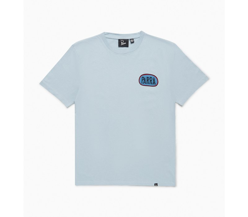 BY PARRA SPILLED DRINK DUSTY BLUE T-SHIRT