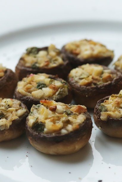 Mushrooms stuffed with garlic butter