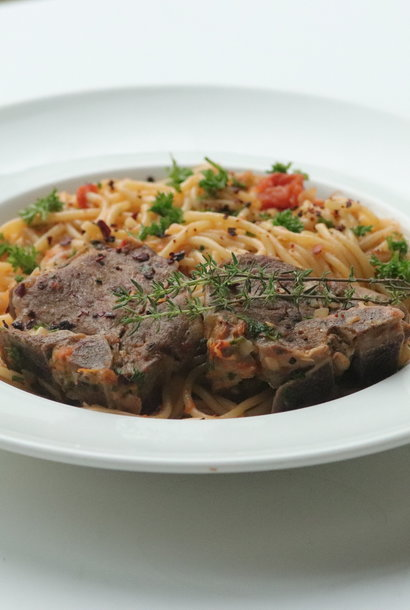 Spaghetti and Lamb with white wine
