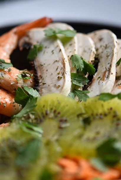 Buddha bowl végétarien aux crevettes tigrées