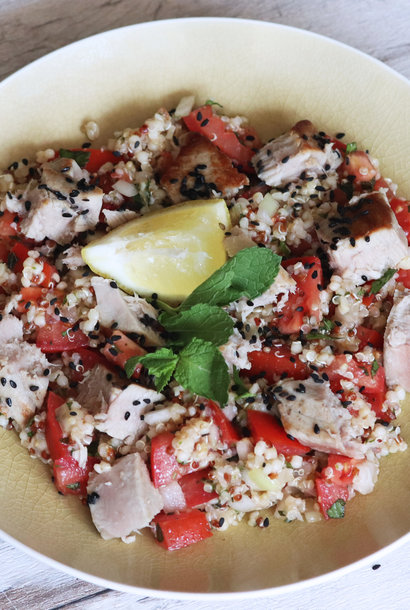 Tuna quinoa with herbs