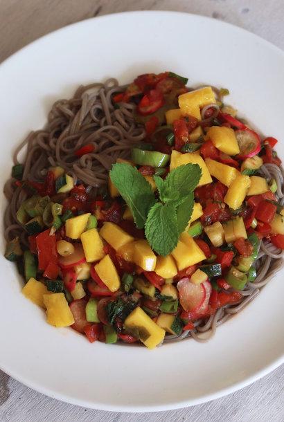 Fruit soba noodles with rice vinegar