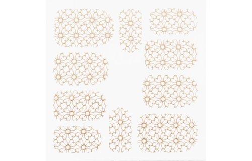 No Label Metallic Filigree Stickers SFLS-007 Gold