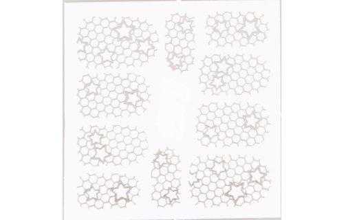 No Label Metallic Filigree Stickers SFLS-011 Silver