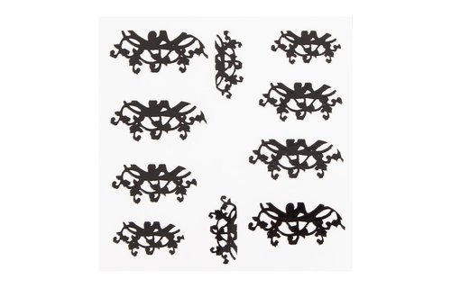 No Label Metallic Filigree Sticker LNS-11015 Black
