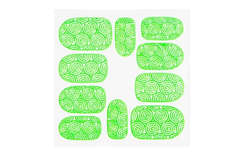 No Label Metallic Filigree Sticker KOR-001 Neon Green