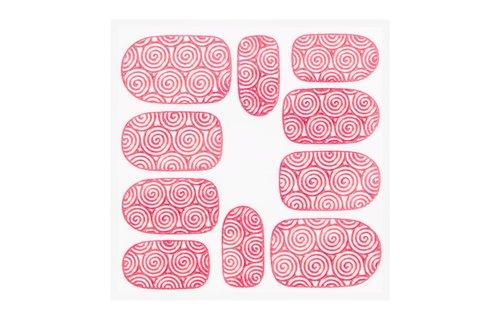 No Label Metallic Filigree Sticker KOR-001 Neon Pink
