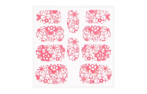No Label Metallic Filigree Sticker KOR-003 Neon Pink