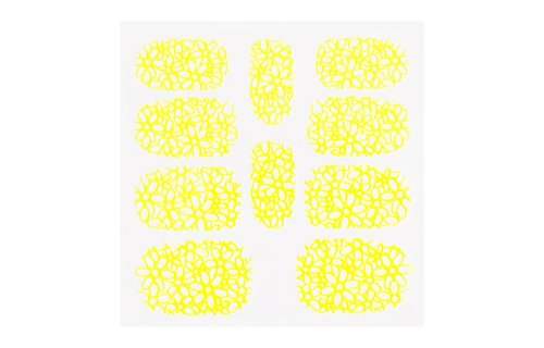 No Label Metallic Filigree Sticker KOR-003 Neon Yellow