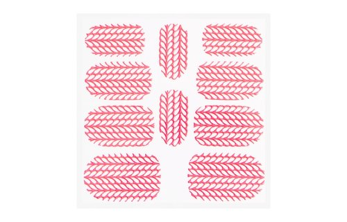 No Label Metallic Filigree Sticker KOR-004 Neon Pink