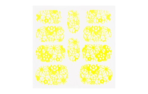 No Label Metallic Filigree Sticker KOR-005 Neon Yellow