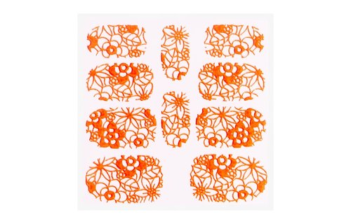 No Label Metallic Filigree Sticker KOR-005 Neon Orange