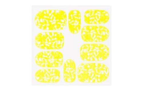 No Label Metallic Filigree Sticker KOR-006 Neon Yellow