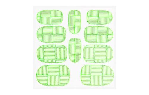 No Label Metallic Filigree Sticker KOR-007 Neon Green