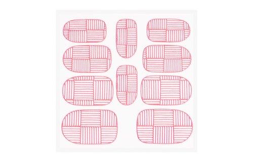No Label Metallic Filigree Sticker KOR-007 Neon Pink
