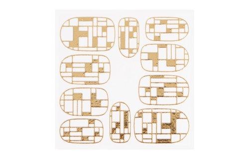 No Label Metallic Filigree Sticker KOR-009 Gold